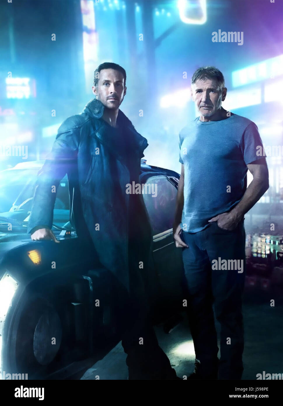 BLADE RUNNER 2049 -   2017 Columbia film with Ryan Gosling at left and Harrison Ford - Stock Image