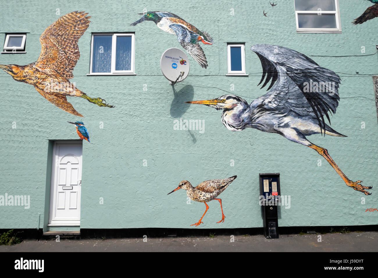 Bird painting of flying wetlands birds on the wall of a building on Coppermill Lane in Walthamstow, East London - Stock Image
