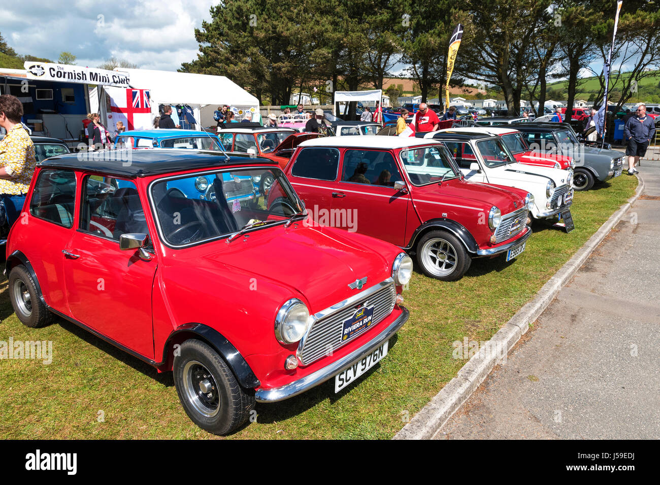 the riviera run for mini cars hosted by the cornish mini club at pentewan sands holiday park in cornwall, england, - Stock Image