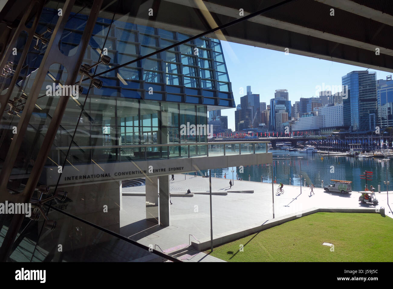 View across Darling Harbour from International Convention Centre, Sydney, NSW, Australia. No MR or PR - Stock Image