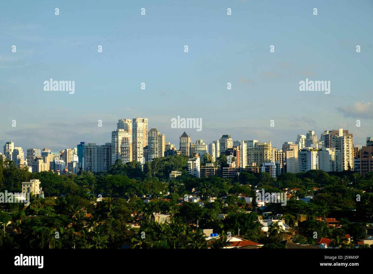 Urban skyline of Sao Paulo showing apartment blocks and forested parkland in the foreground - Stock Image