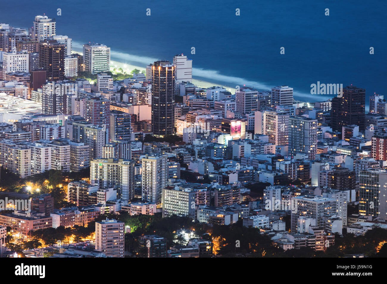 Ipanema / Leblon beach and neighbourhood in Rio, Brazil - Stock Image