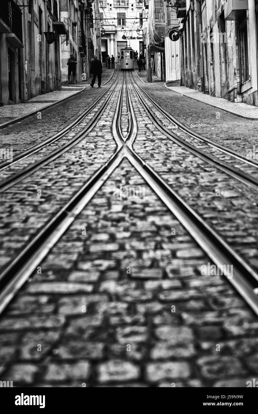 Lisbon, Portugal, 2015 04 18 - old tram - elevador da Bica standing on top of the rails, black and white - Stock Image
