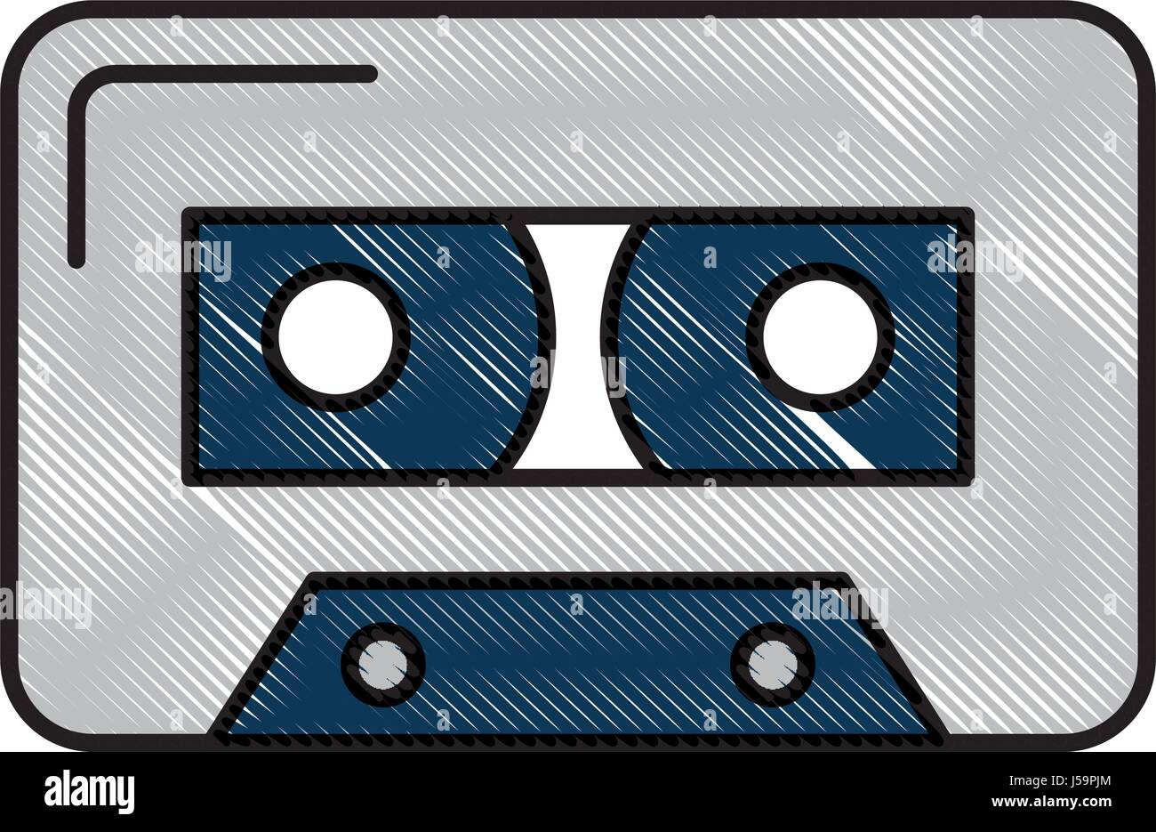 isolated audio cassette tape  - Stock Image