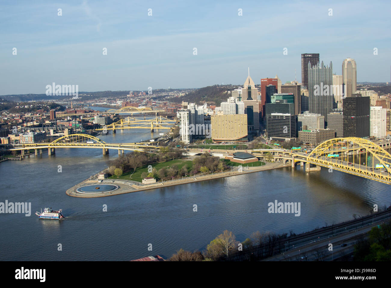 Pittsburgh city skyline from the top of the Duquesne Incline, Mount Washington, with a view of all the bridges and - Stock Image