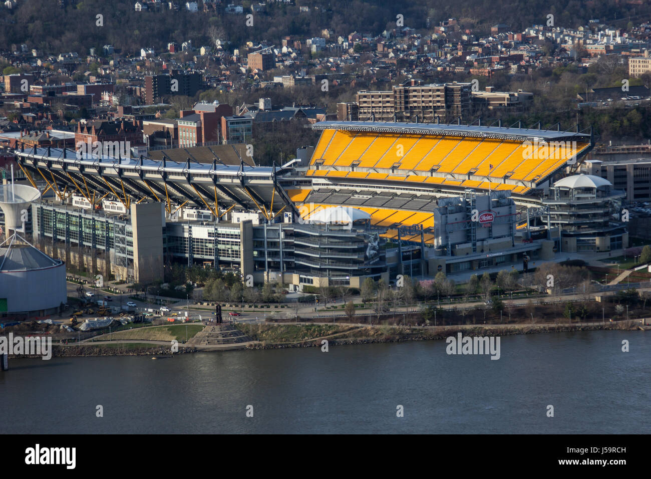 Heinz Field from the Duquesne Incline at Sunset. - Stock Image