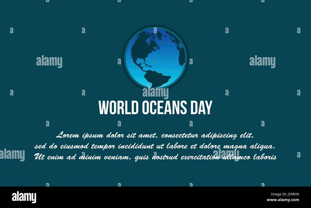 Background world ocean day vector flat - Stock Image