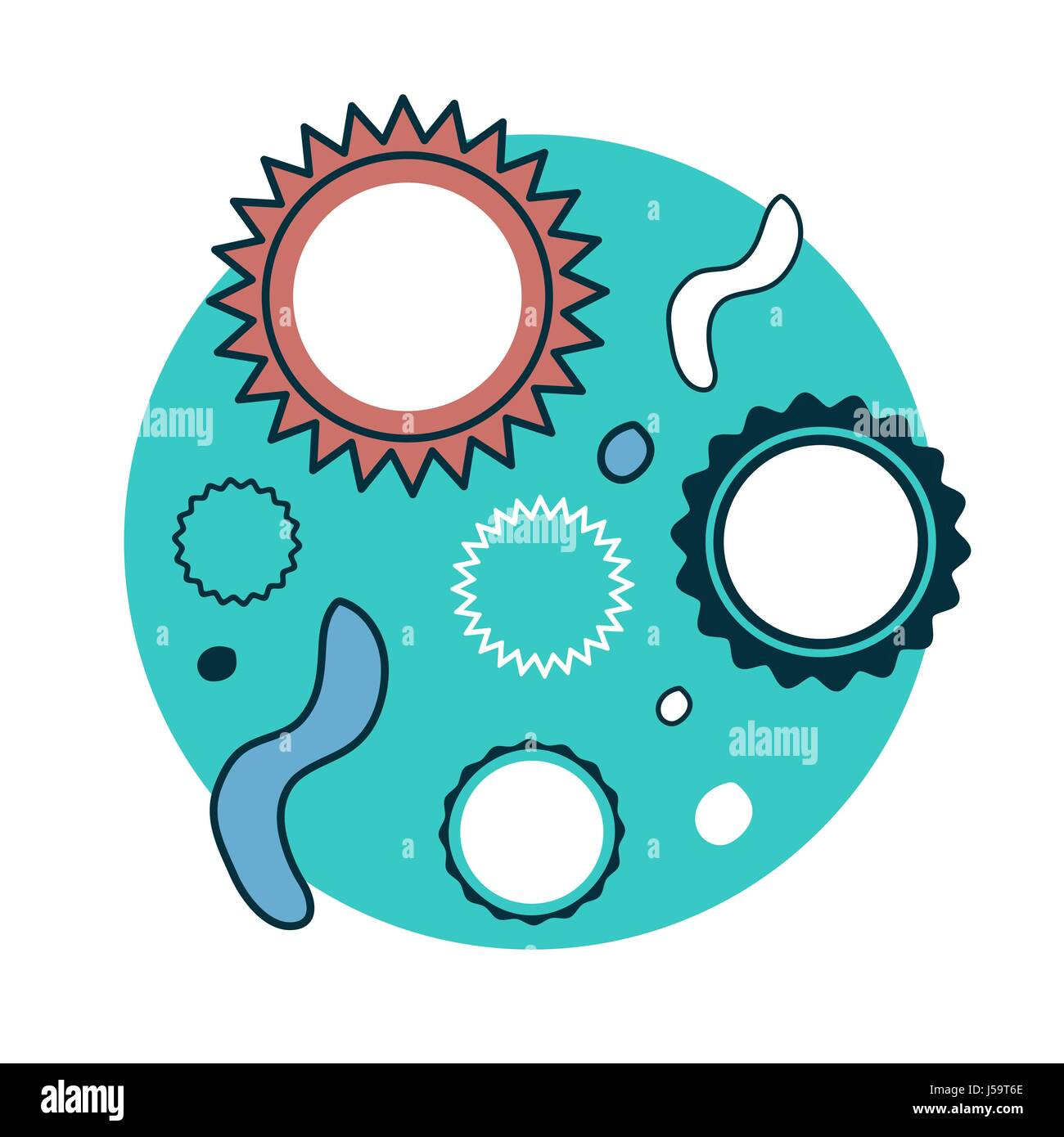 cartoon bacteria and viruses under microscope stock vector image art alamy https www alamy com stock photo cartoon bacteria and viruses under microscope 140972790 html