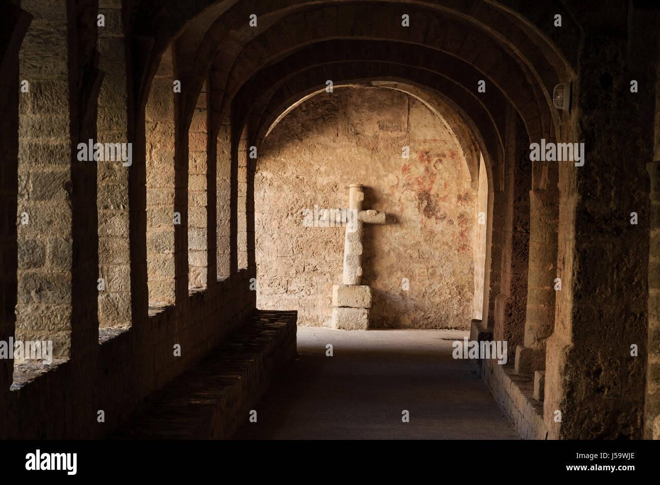 France, Herault, Saint Guilhem le Desert, labelled Les Plus Beaux Villages de France, Saint Guilhem le Desert abbey, Stock Photo