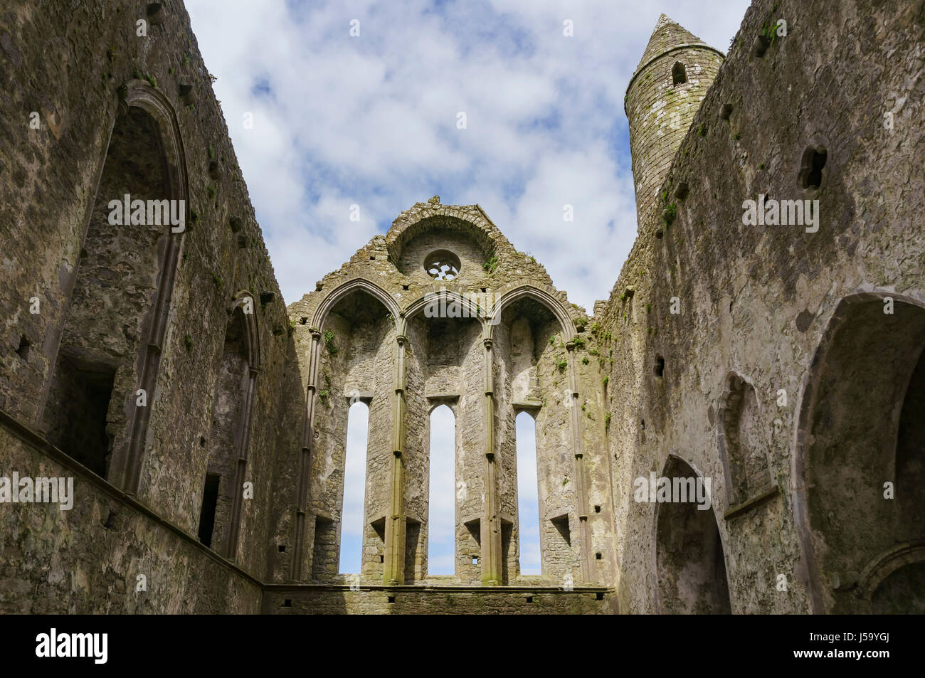Tipperary, MAY 7: The historical Rock of Cashel on MAY 7, 2017 at Cashel, County Tipperary, Ireland - Stock Image