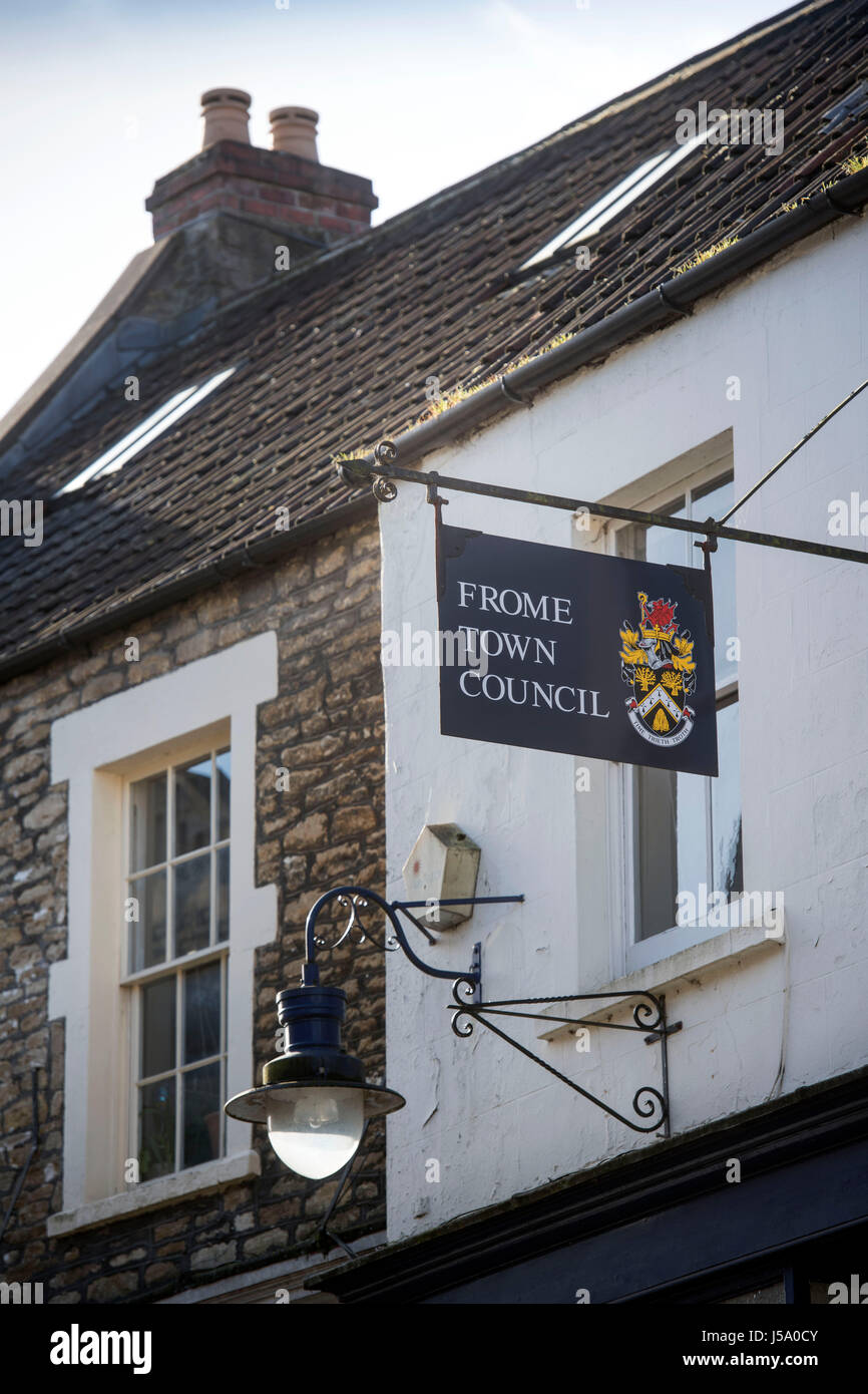Frome Town Council sign on Palmer St in Frome, Somerset - Stock Image