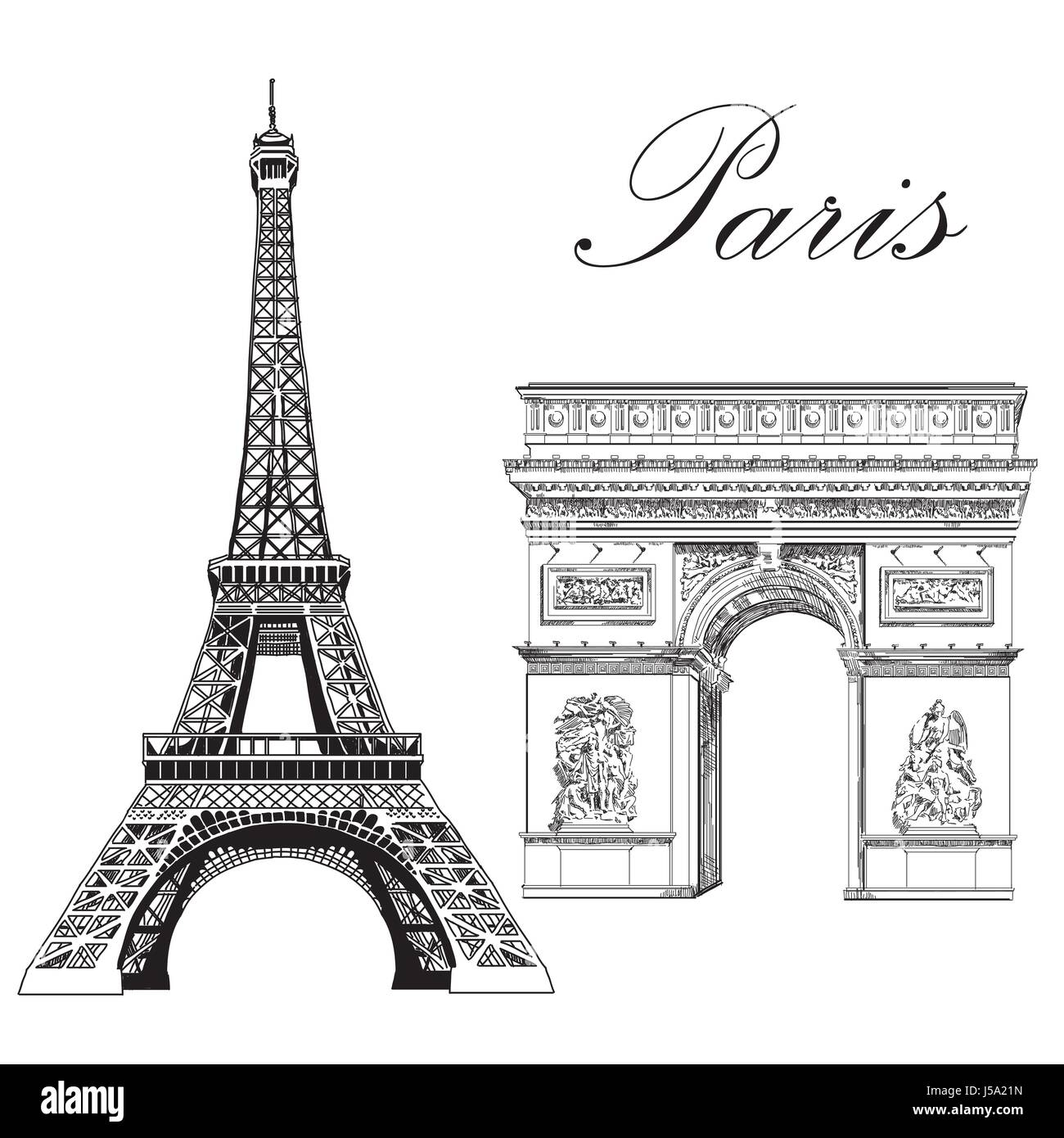 Eiffel tower and triumphal arch landmarks of paris france vector eiffel tower and triumphal arch landmarks of paris france vector isolated hand drawing illustration in black color on white background altavistaventures Choice Image