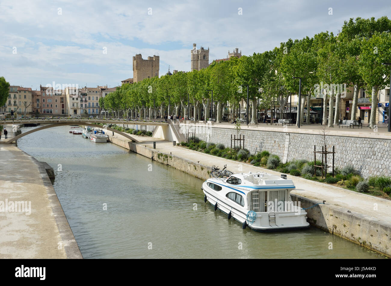 Canal de la Robine in Narbonne. Stock Photo