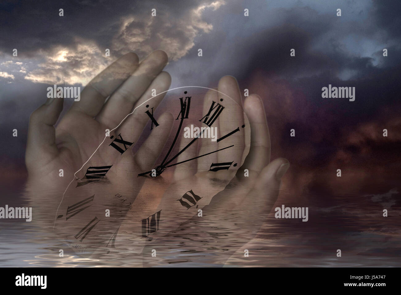 hand hands clock pointer time mood fear dial dark end time chronometer Stock Photo