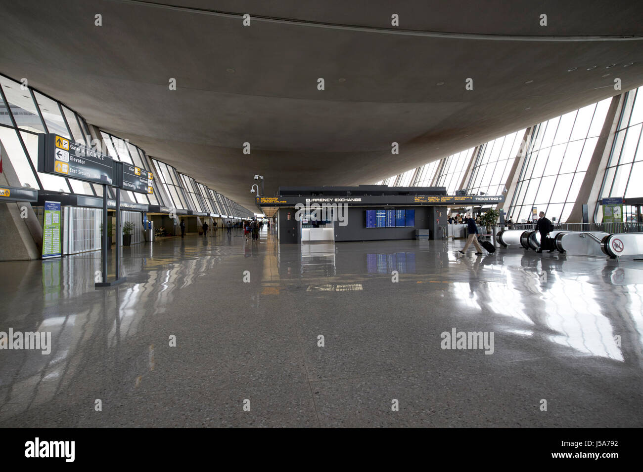main terminal building catenary ceiling interior Dulles international airport serving Washington DC USA - Stock Image