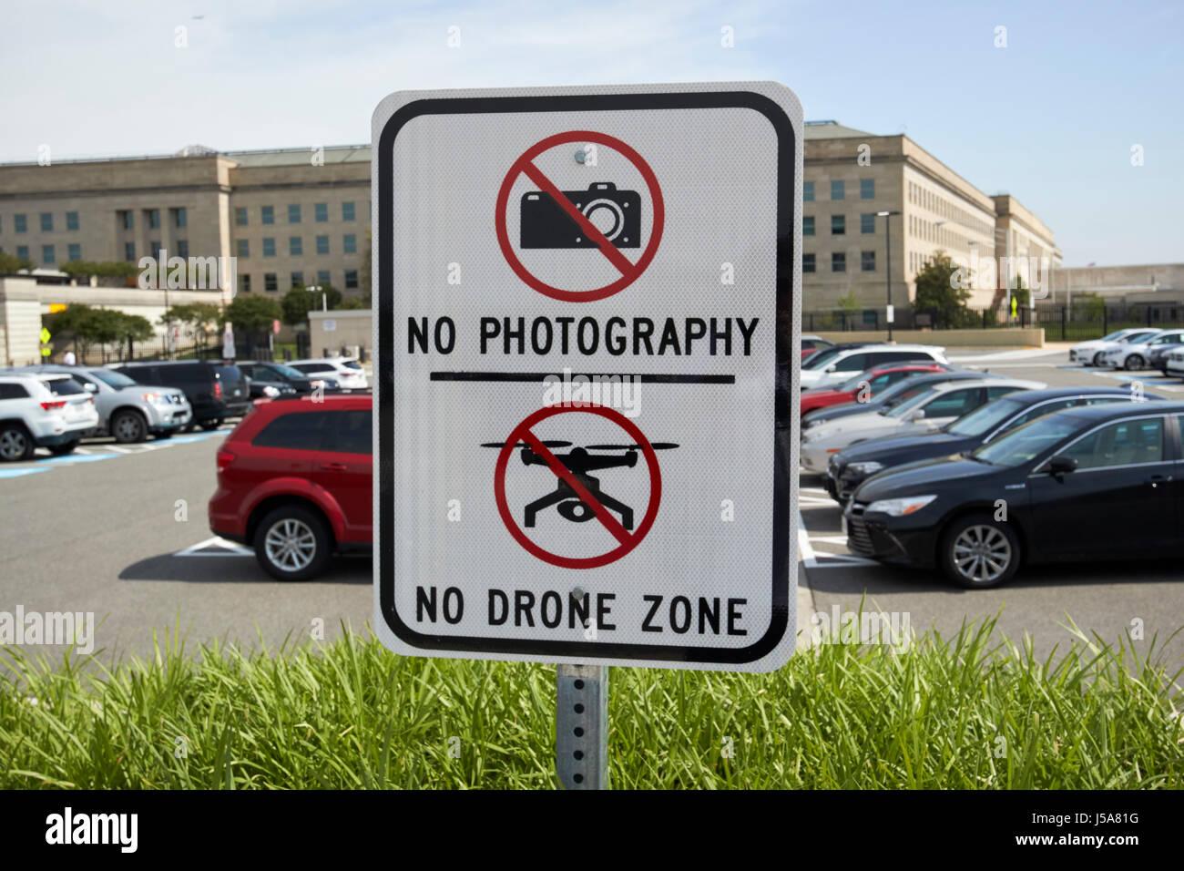 no photography no drone zone outside the pentagon Washington DC USA - Stock Image