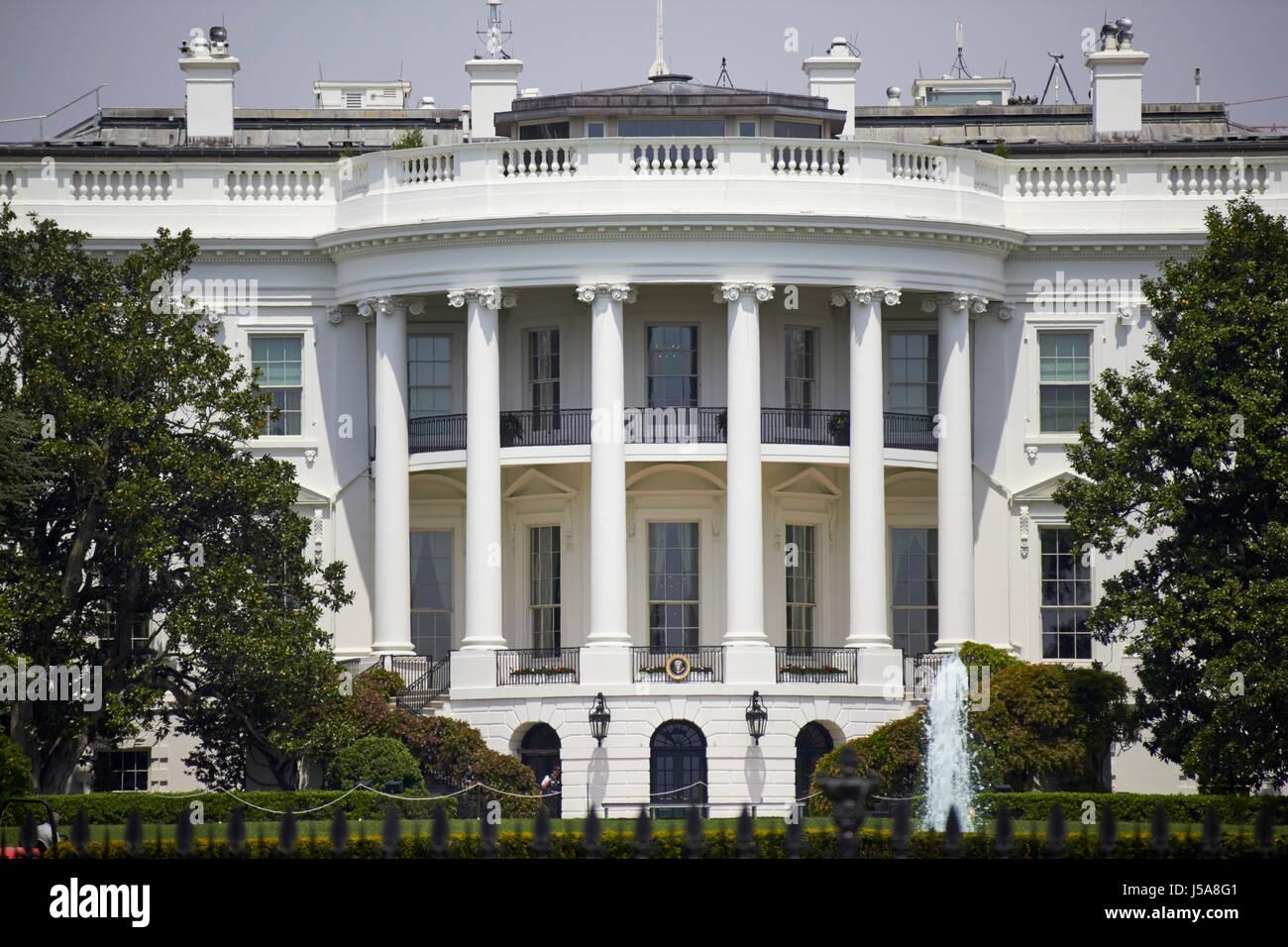 southern facade of the white house Washington DC USA - Stock Image