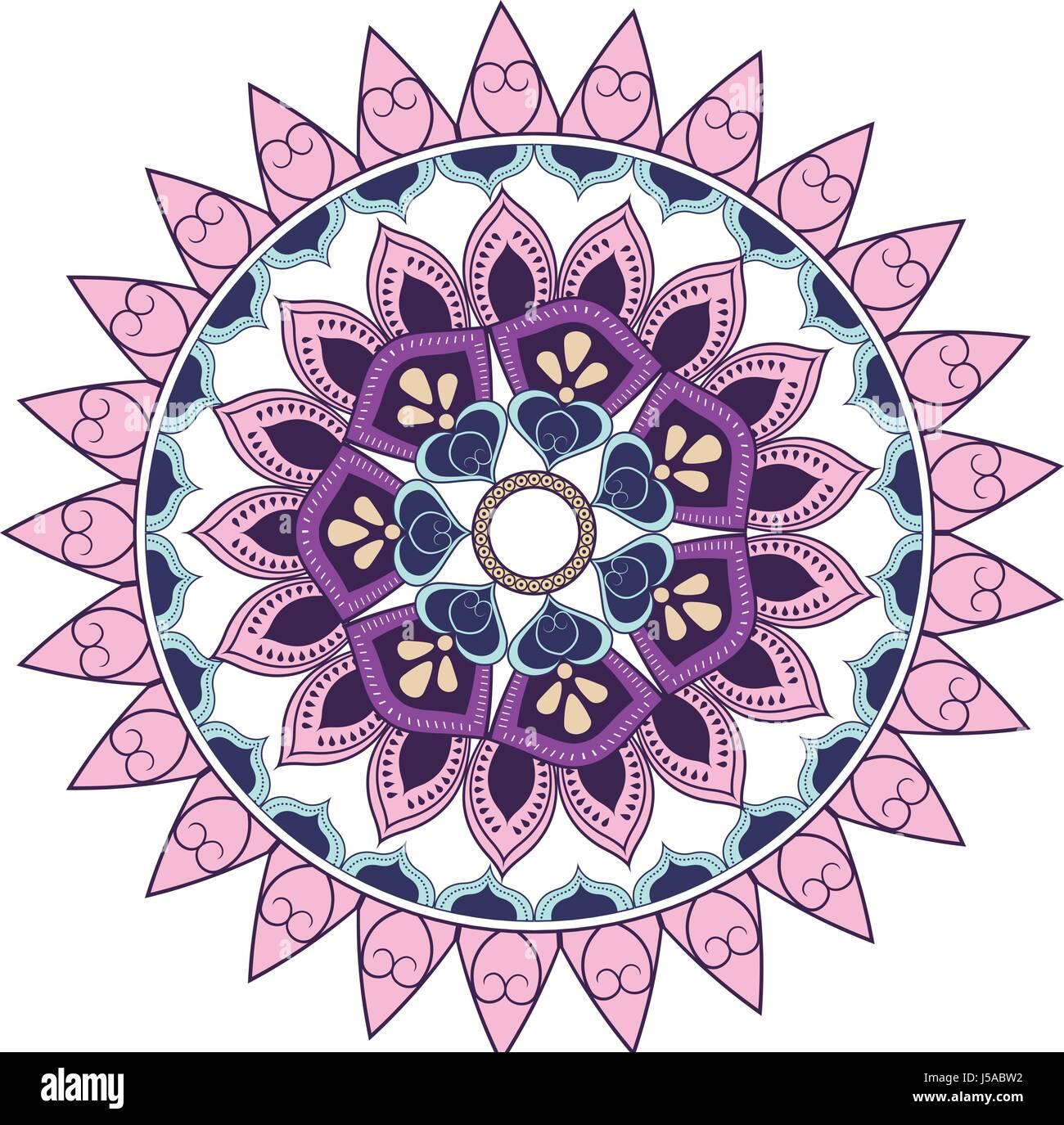 mandala decoration spiritual oriental. mystical ornament element - Stock Image