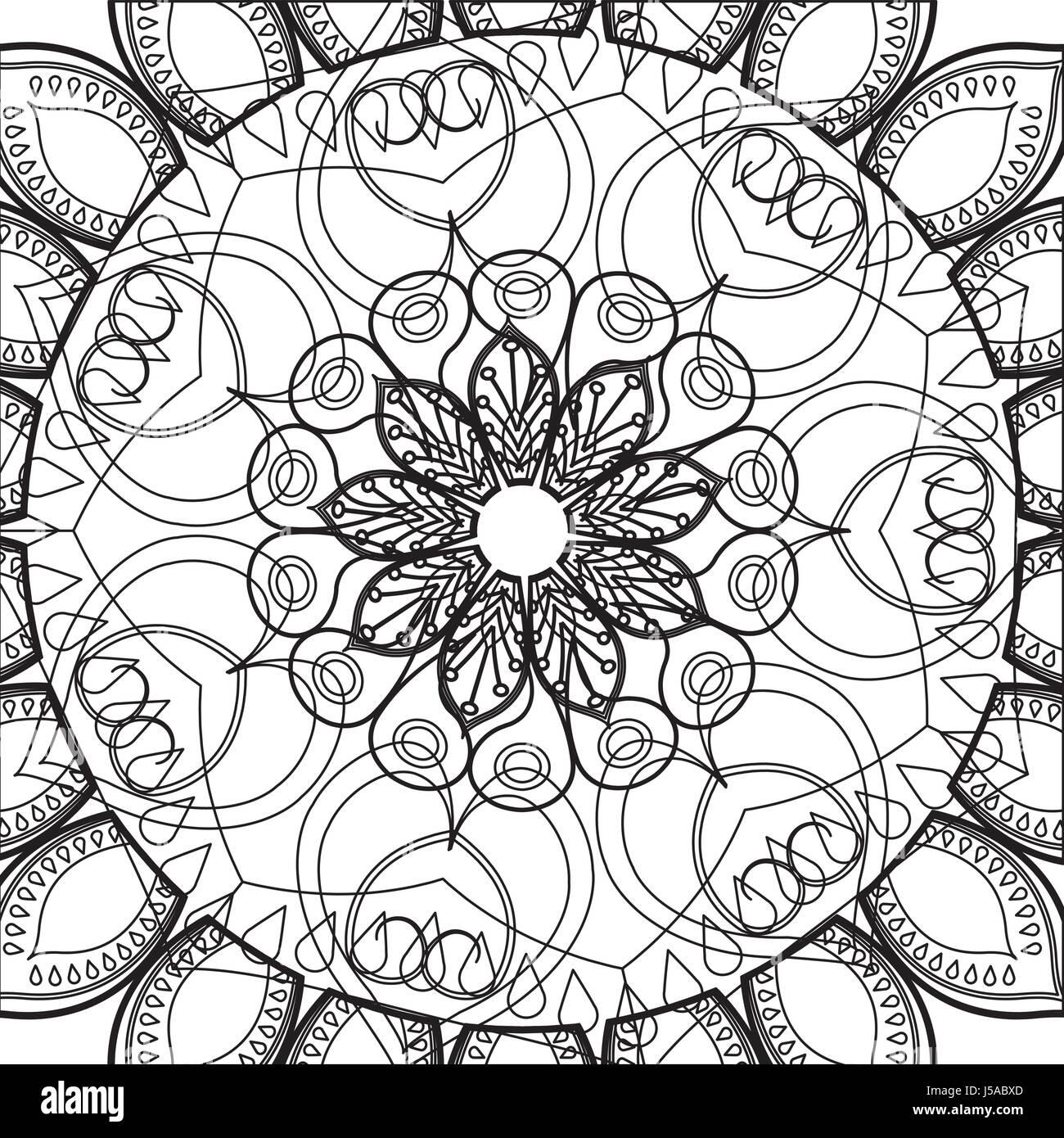 mandala ethnic detailed, relaxation scheme pattern - Stock Vector