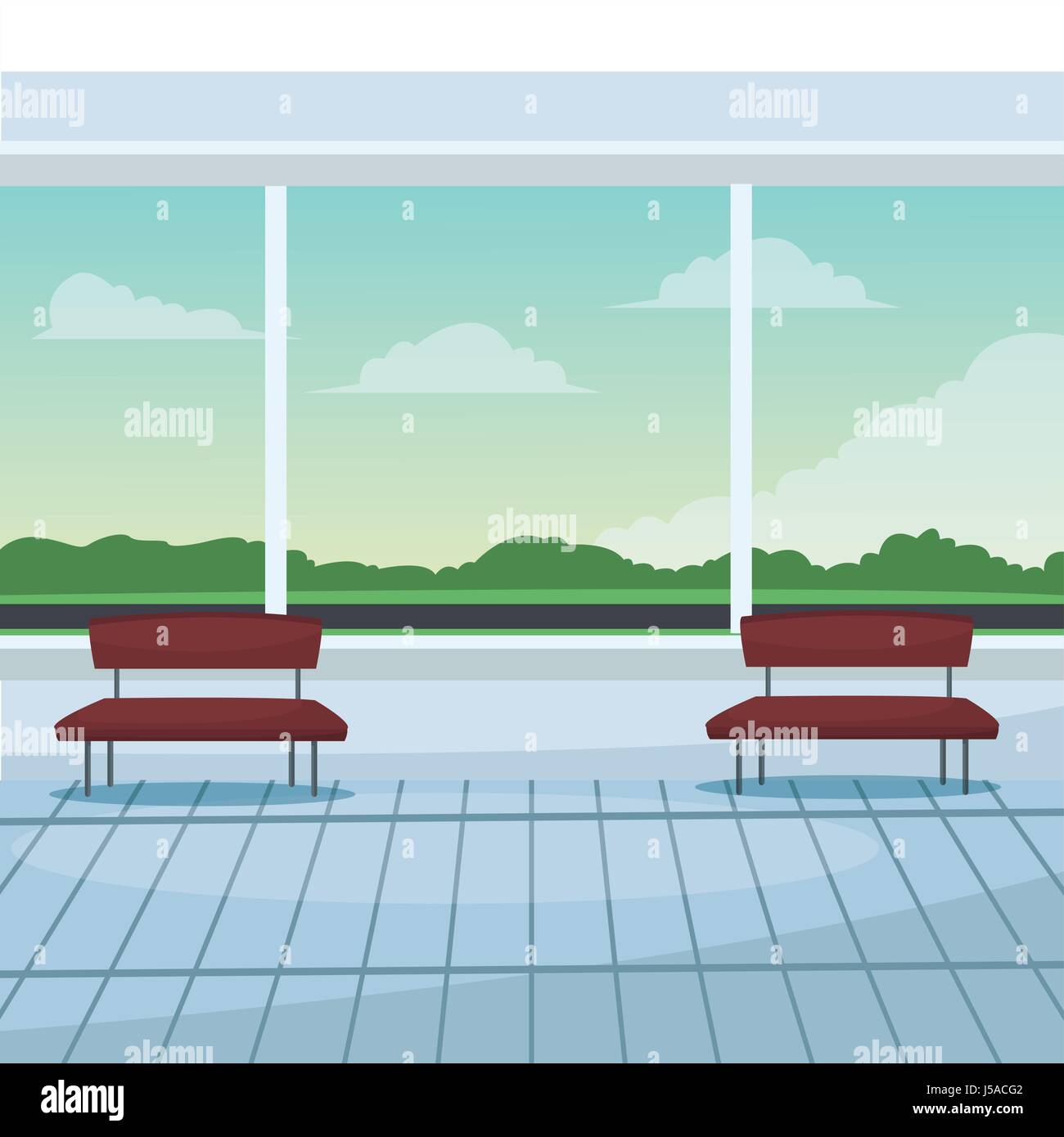 airport waiting room chairs windows landscape clouds stock vector