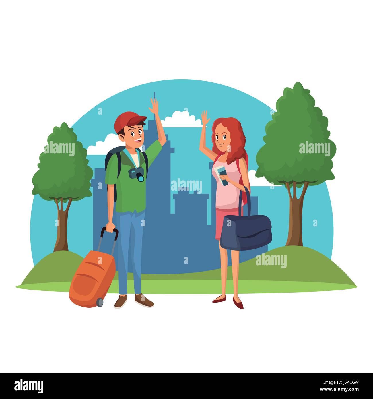traveler couple city tree landscape vacation - Stock Image