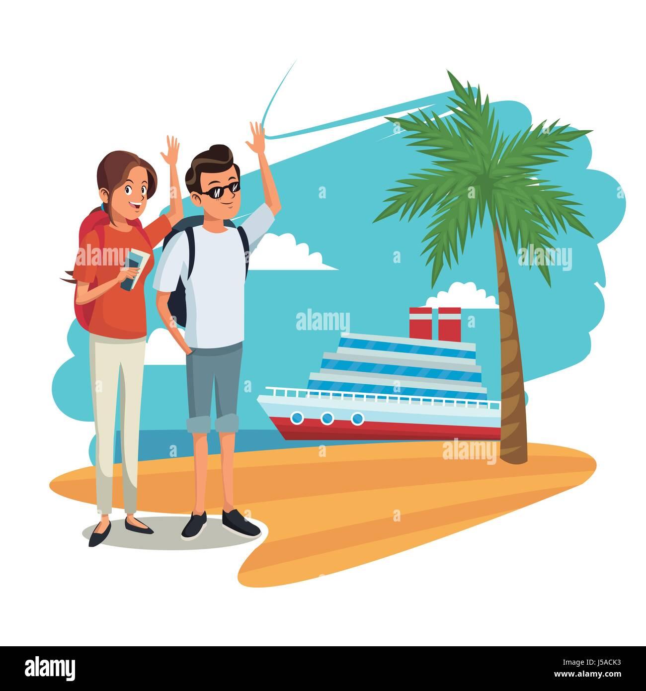 Cute Couple Tourists Cruise Ship Beach Image Stock Vector