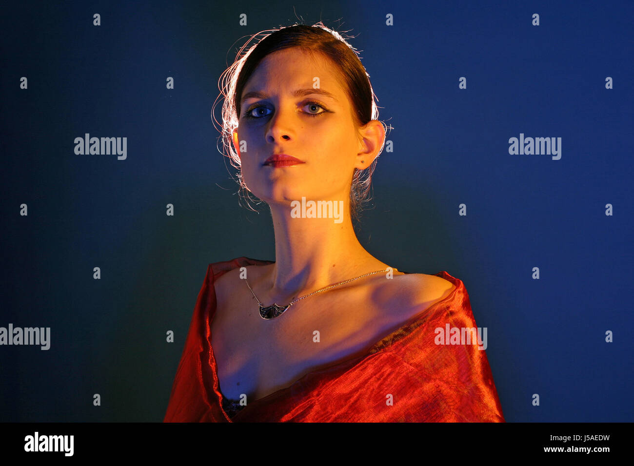 woman studio fichu strapless dapper accosting pretty prettily prettier - Stock Image