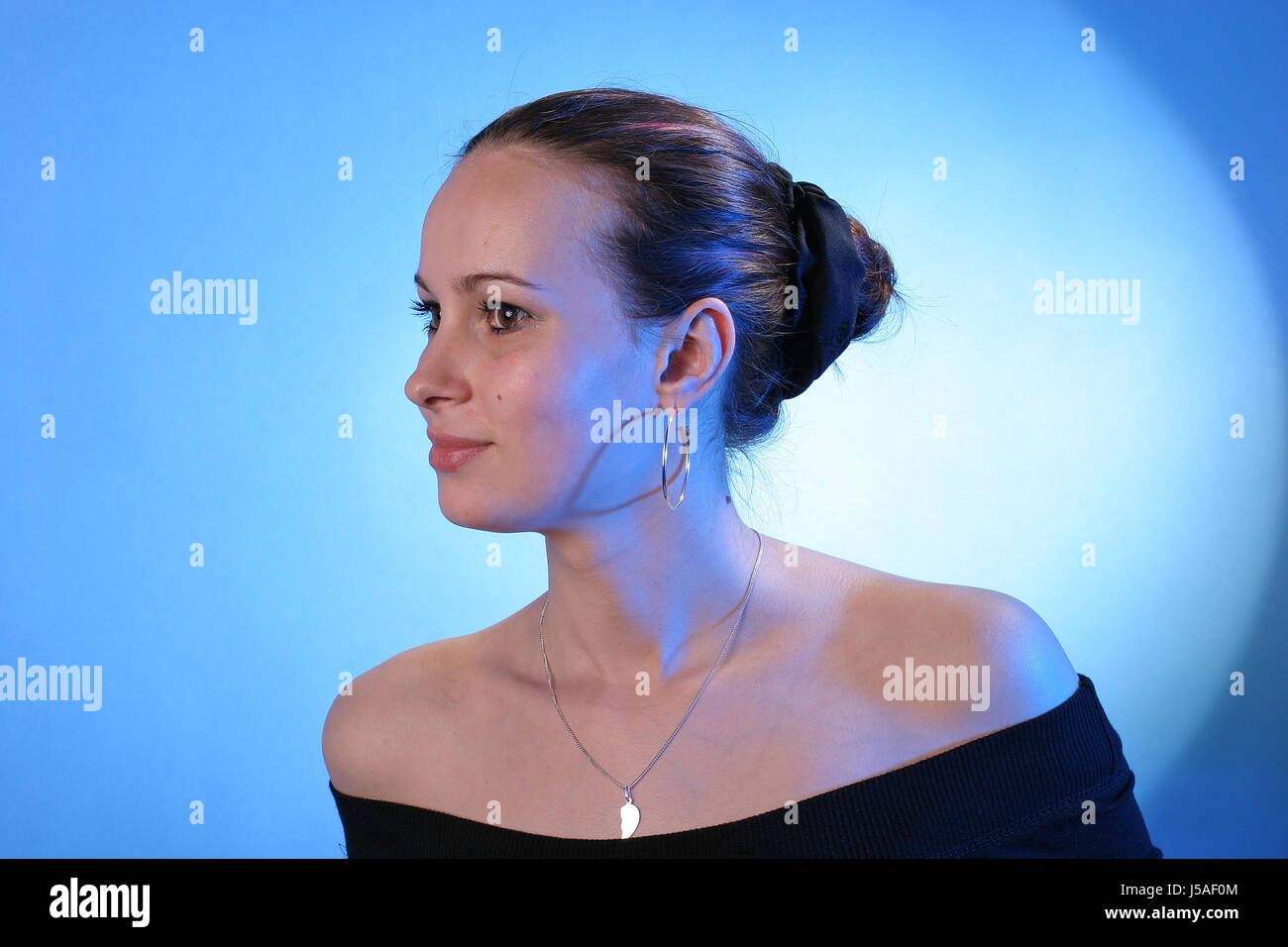 woman studio strapless dapper accosting pretty prettily prettier ravishing - Stock Image