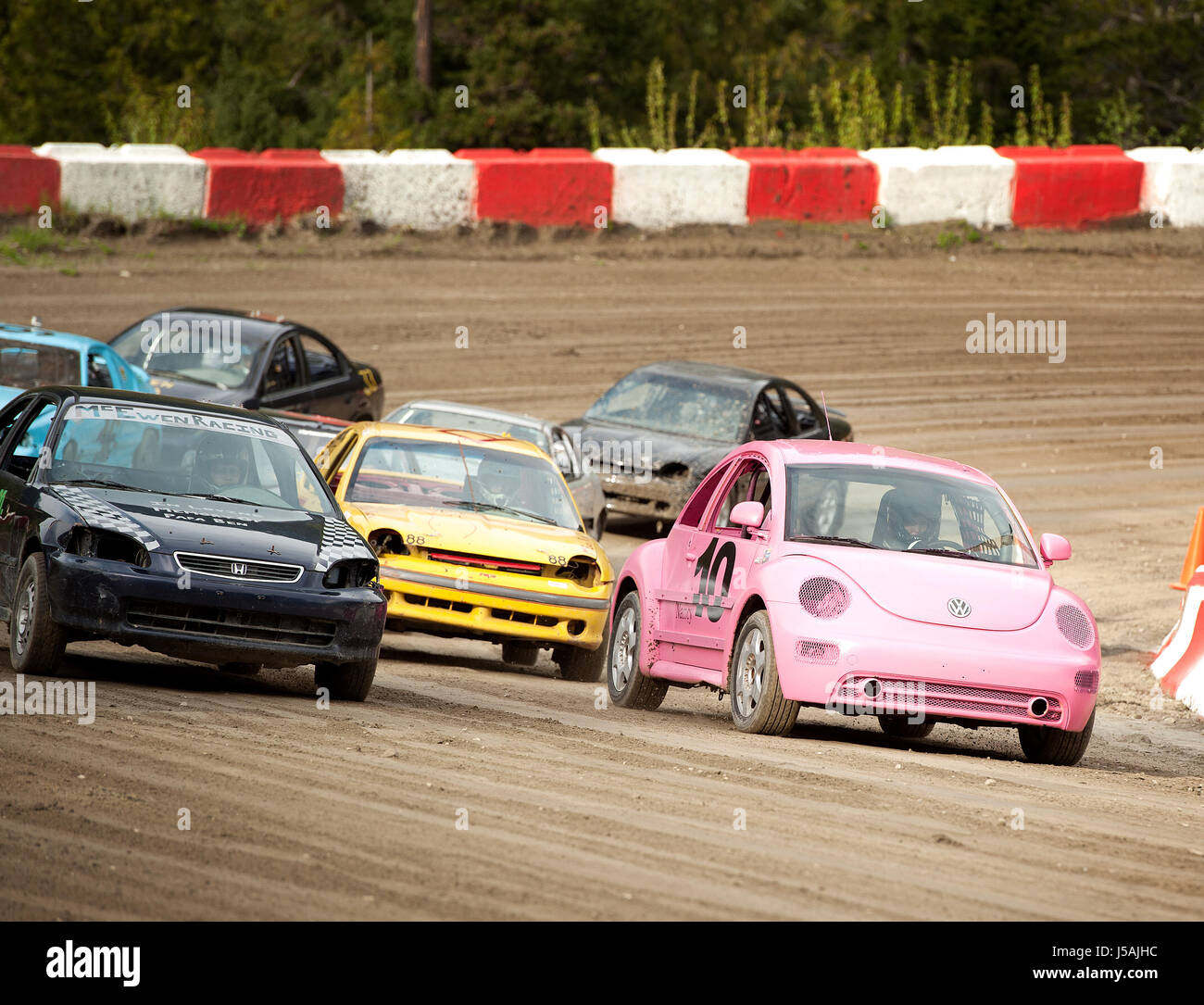 Small town dirt track stock car racing  Home made race cars