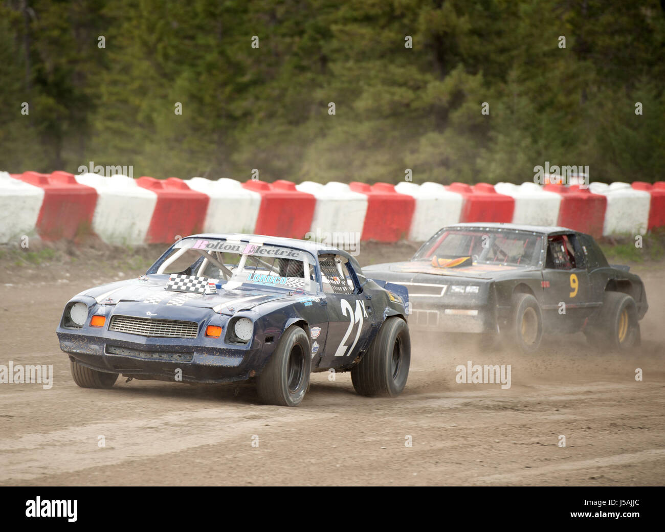 Small Town Dirt Track Stock Car Racing Home Made Race Cars On A Stock Photo Alamy