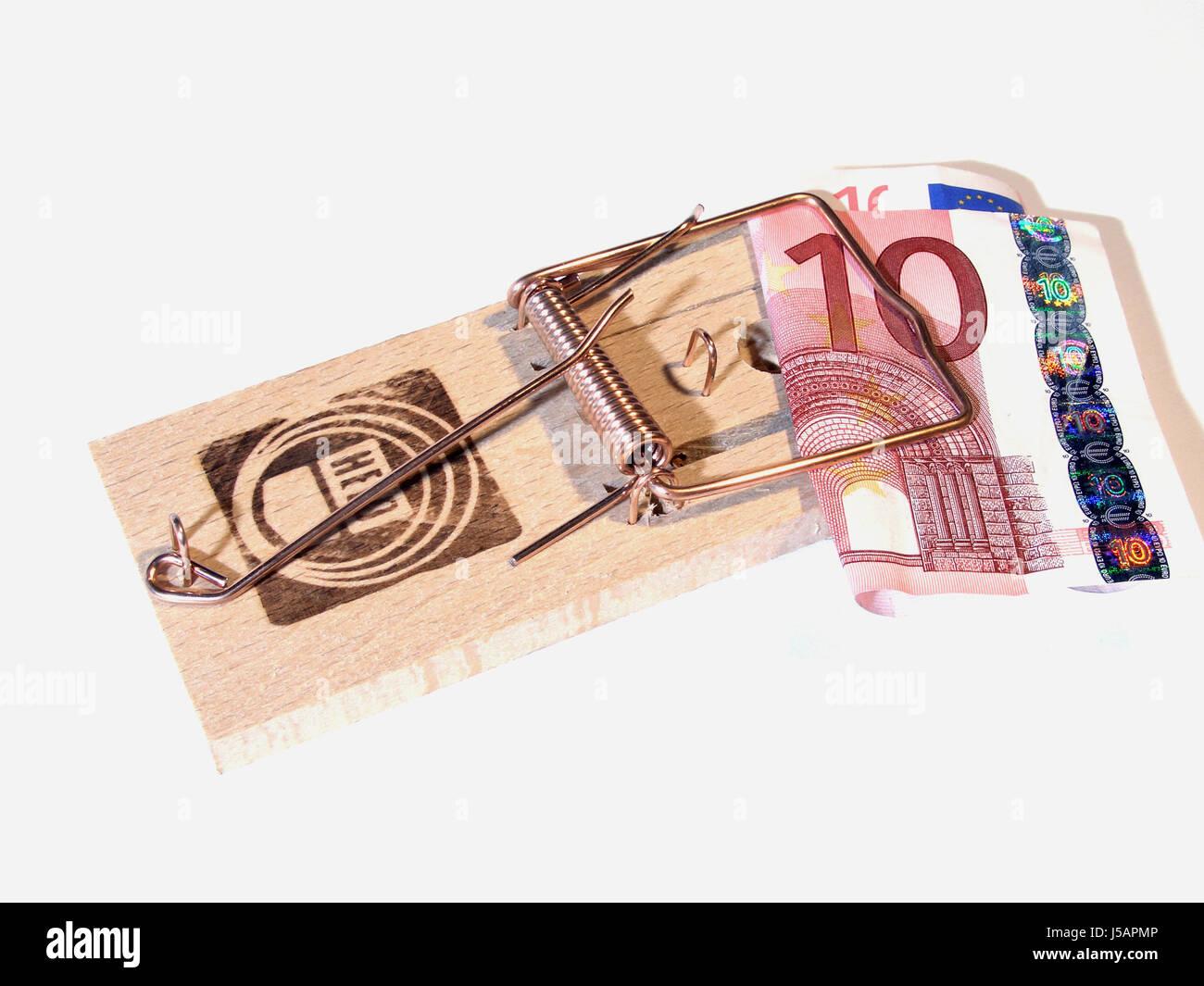 euro ten cases trap financing mousetrap nabbed caged money finances 10 Stock Photo