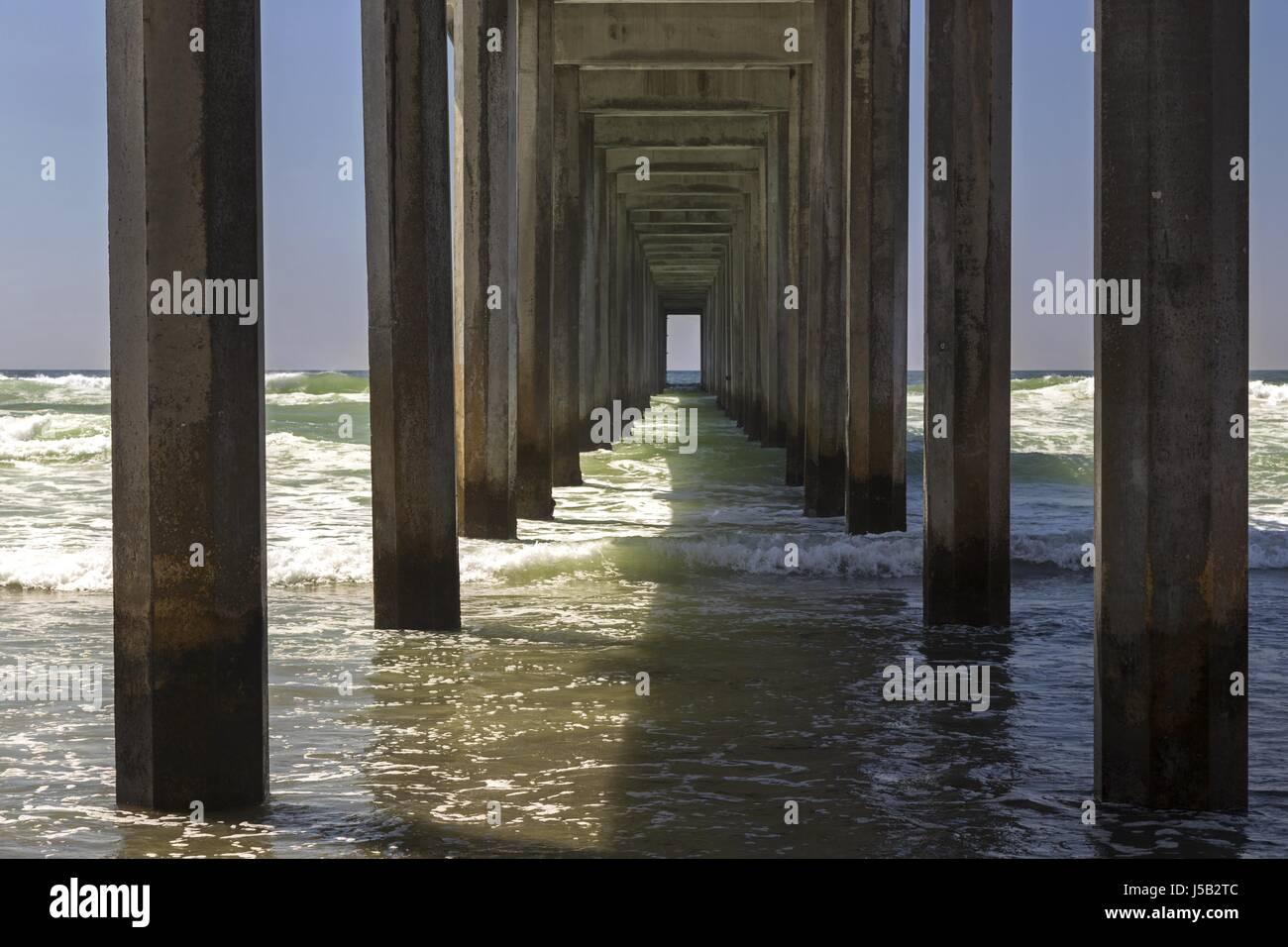 Symmetrical Geometric Pattern Scripps Pier La Jolla Shores San Diego California - Stock Image