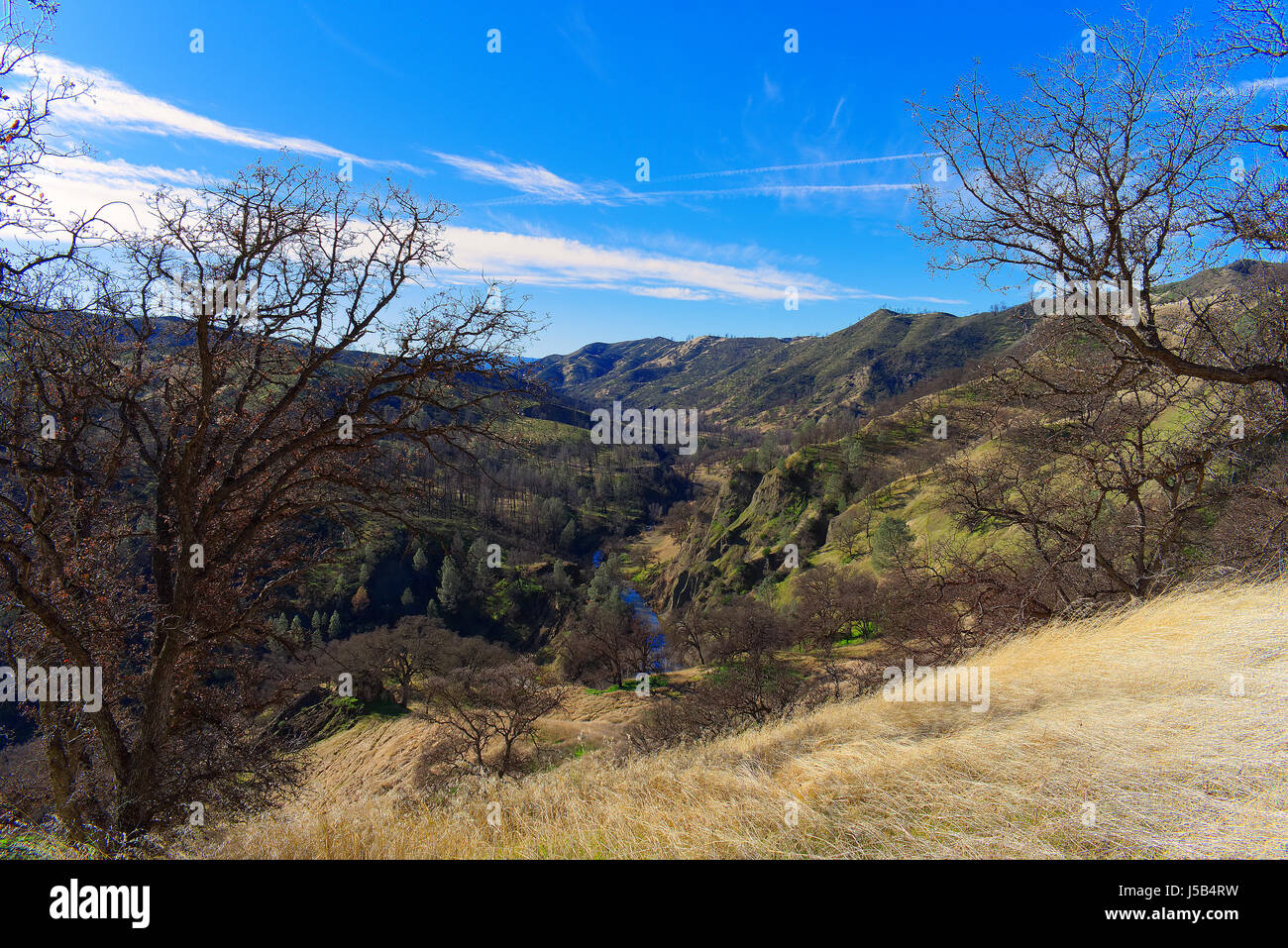 Overlook above Cache Creek from ridge along the Redbud Trail, CA, USA - Stock Image