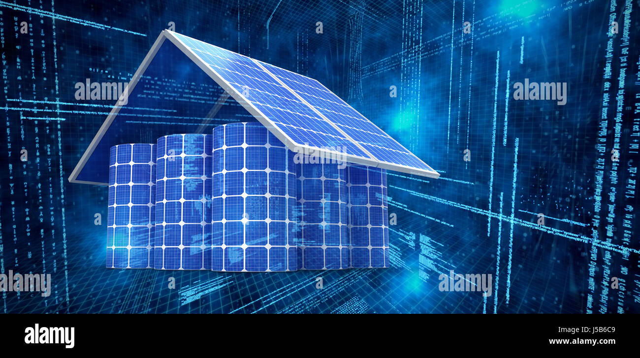 3d image of house made from solar panels and cells against illustration of virtual data - Stock Image