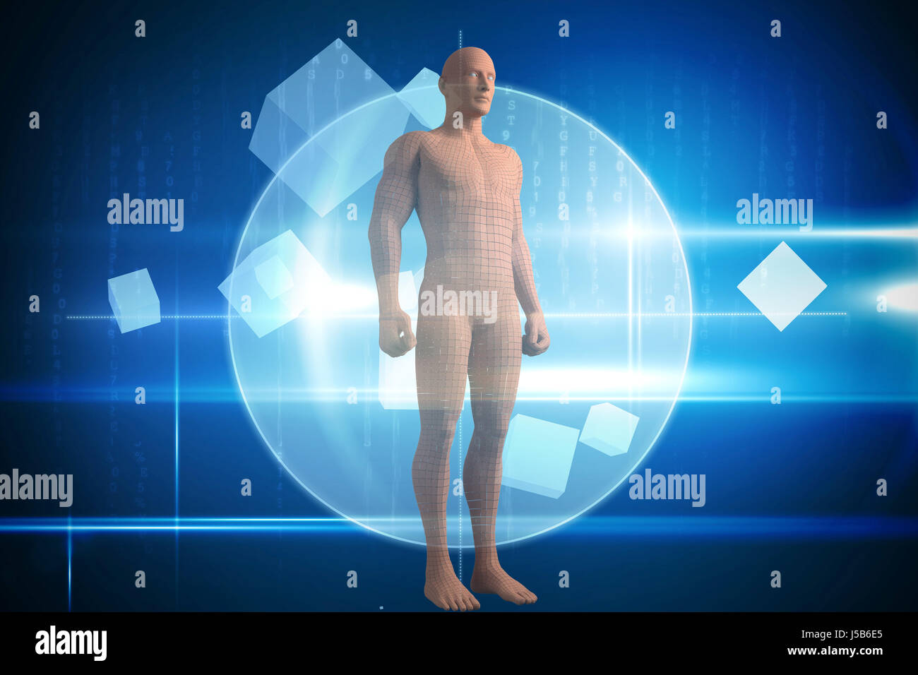 Full length of composite brown 3d woman against blue technology design with circle Stock Photo