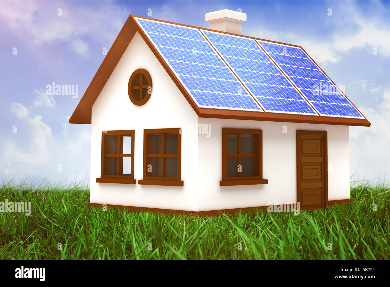 Digitally composite image of 3d house with solar panels against field of grass under blue sky - Stock Image