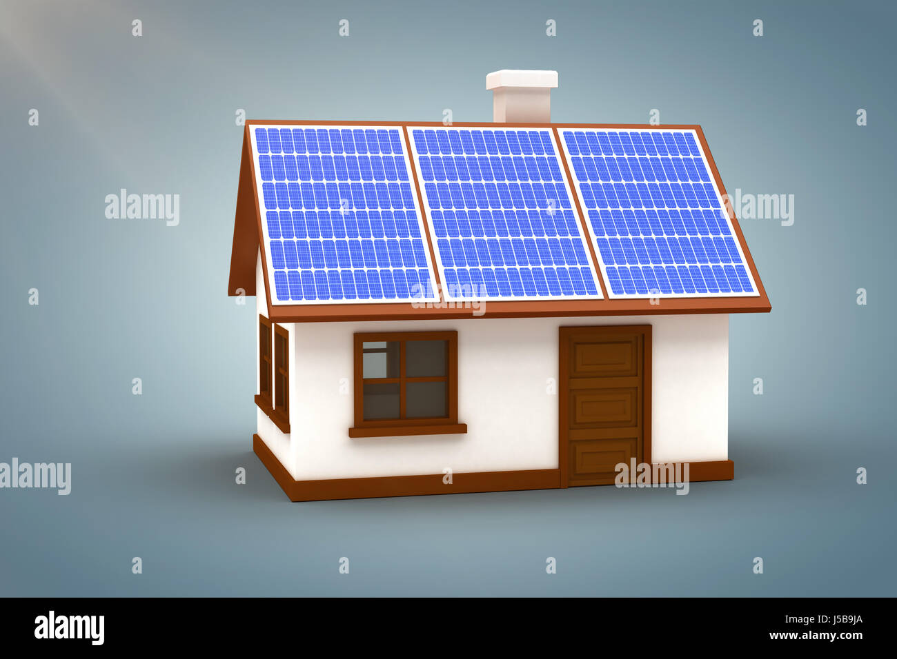 Vector image of 3d house with solar panels against grey vignette - Stock Image