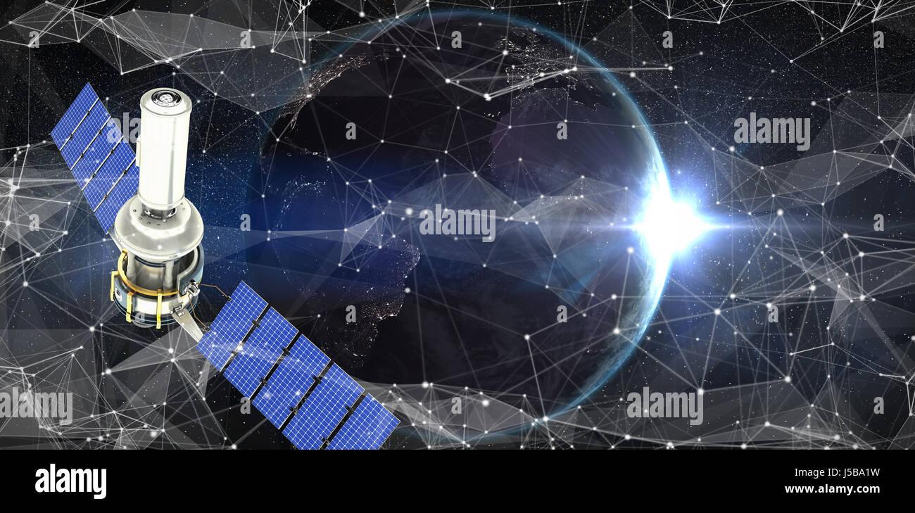 Vector image of3d modern solar satellite against satellite view of back lit earth - Stock Image