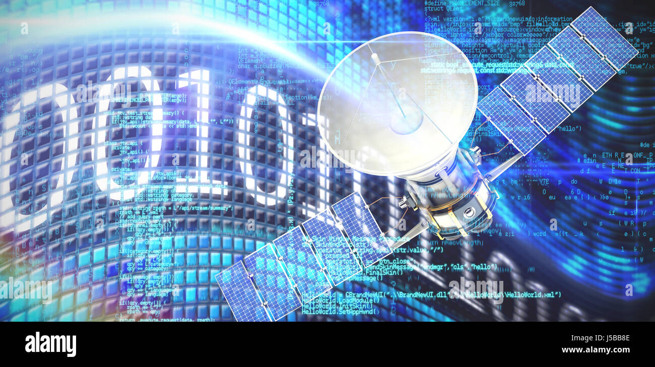 Digitally generated image of3d solar satellite against binary code on digital screen Stock Photo