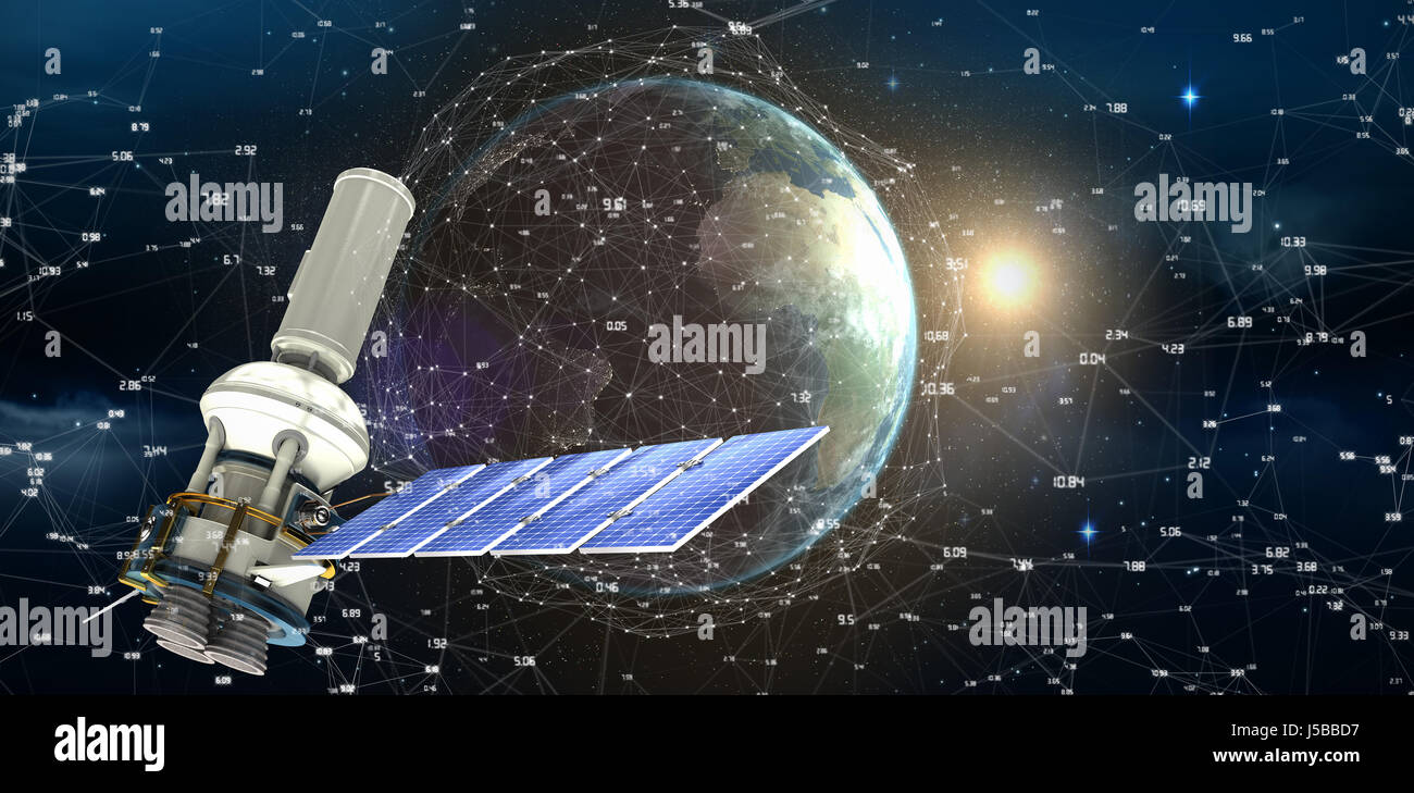 Low angle view of3d modern solar power satellite against satellite view of earth and sun - Stock Image