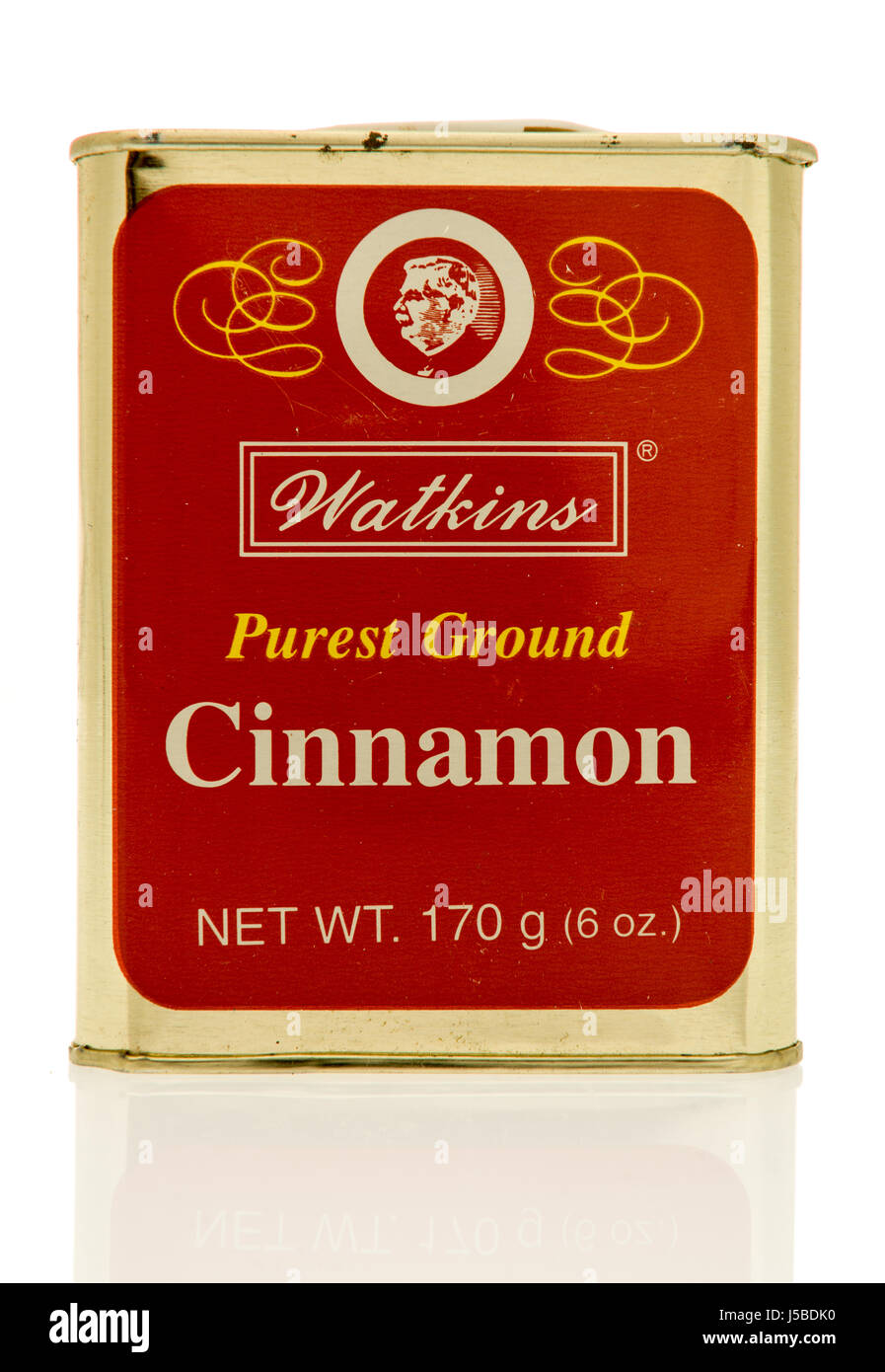 Winneconne, WI - 15 May 2017: A tin of Watkins purest ground cinnamon on an isolated background. Stock Photo