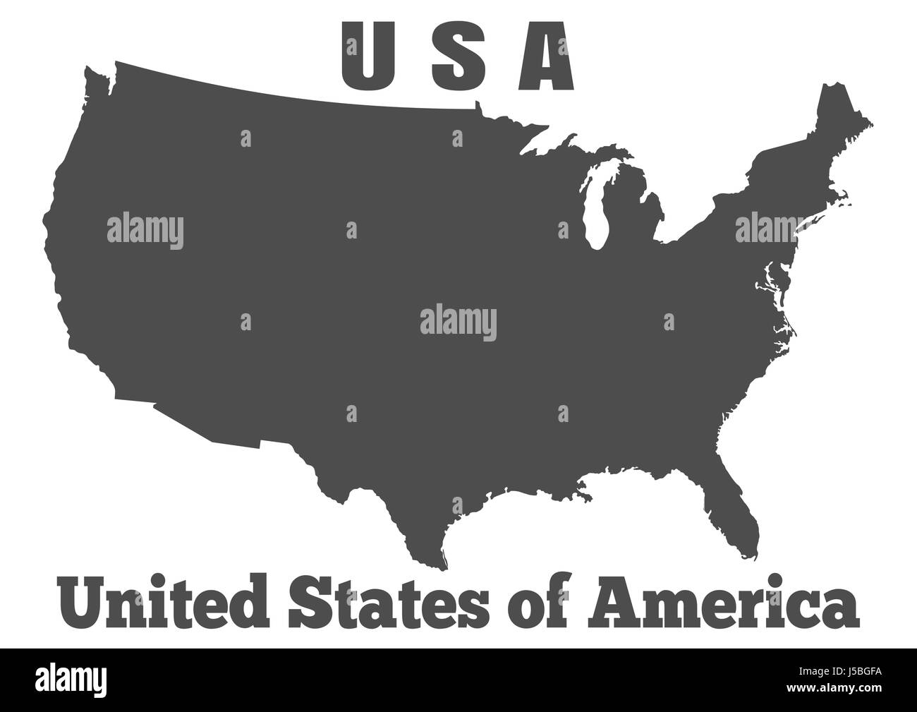 United States of America USA - high detailed map Stock Vector
