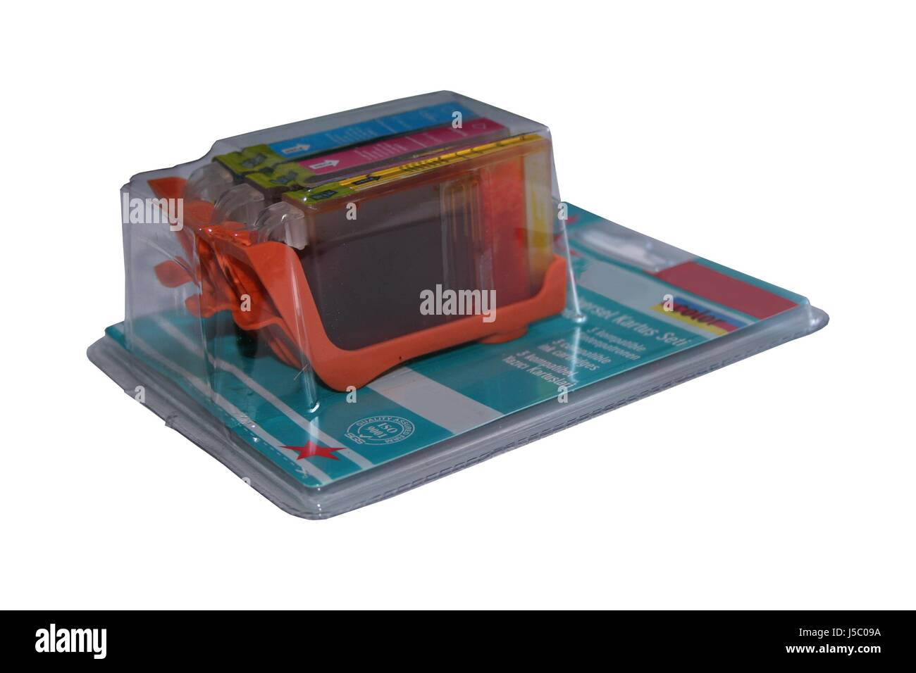 magenta cyan dyer staint pigment ink packing packaging 384 blisterverpackung - Stock Image