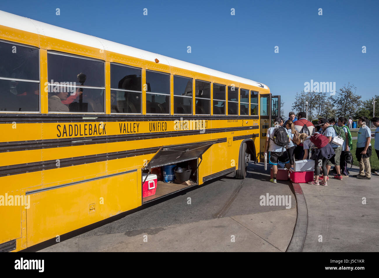 students, student field trip, school trip, Griffith Observatory, Griffith Park, Los Angeles, California - Stock Image