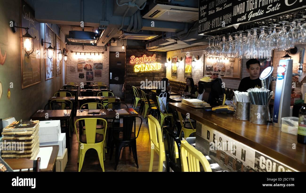 Seafood Stand Restaurant Shau Kei Wan Main Street East - Stock Image