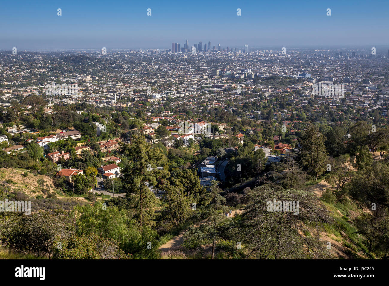 view of downtown LA from observation deck, Griffith Observatory, Griffith Park, Los Angeles, California - Stock Image