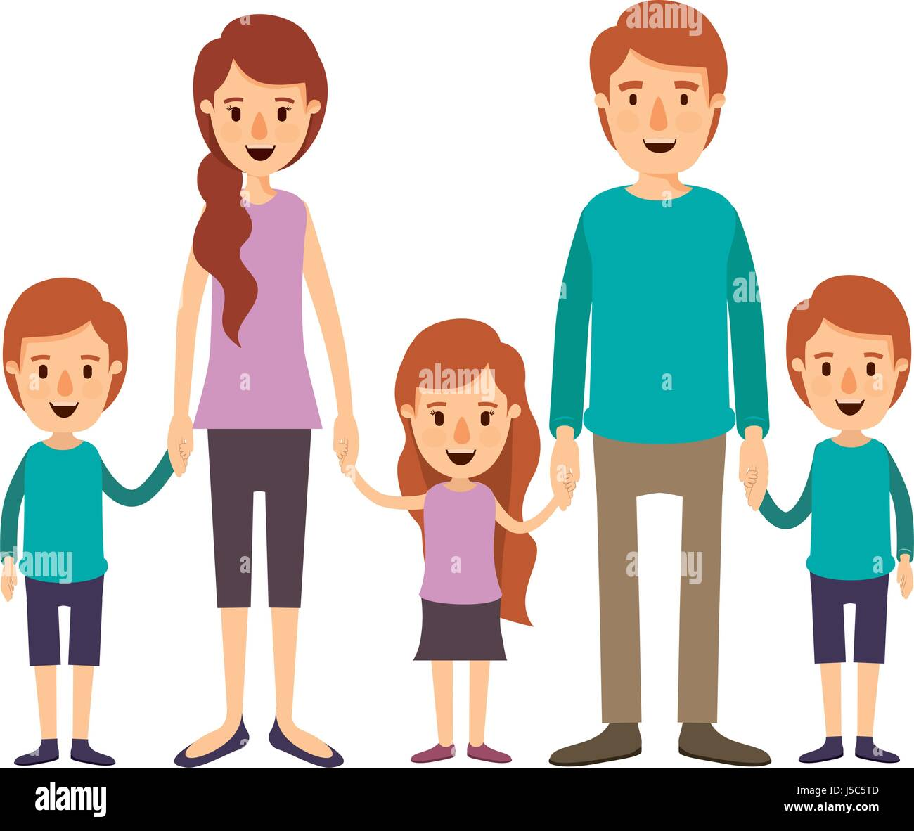 colorful image caricature family with young parents and little kids taken hands - Stock Vector