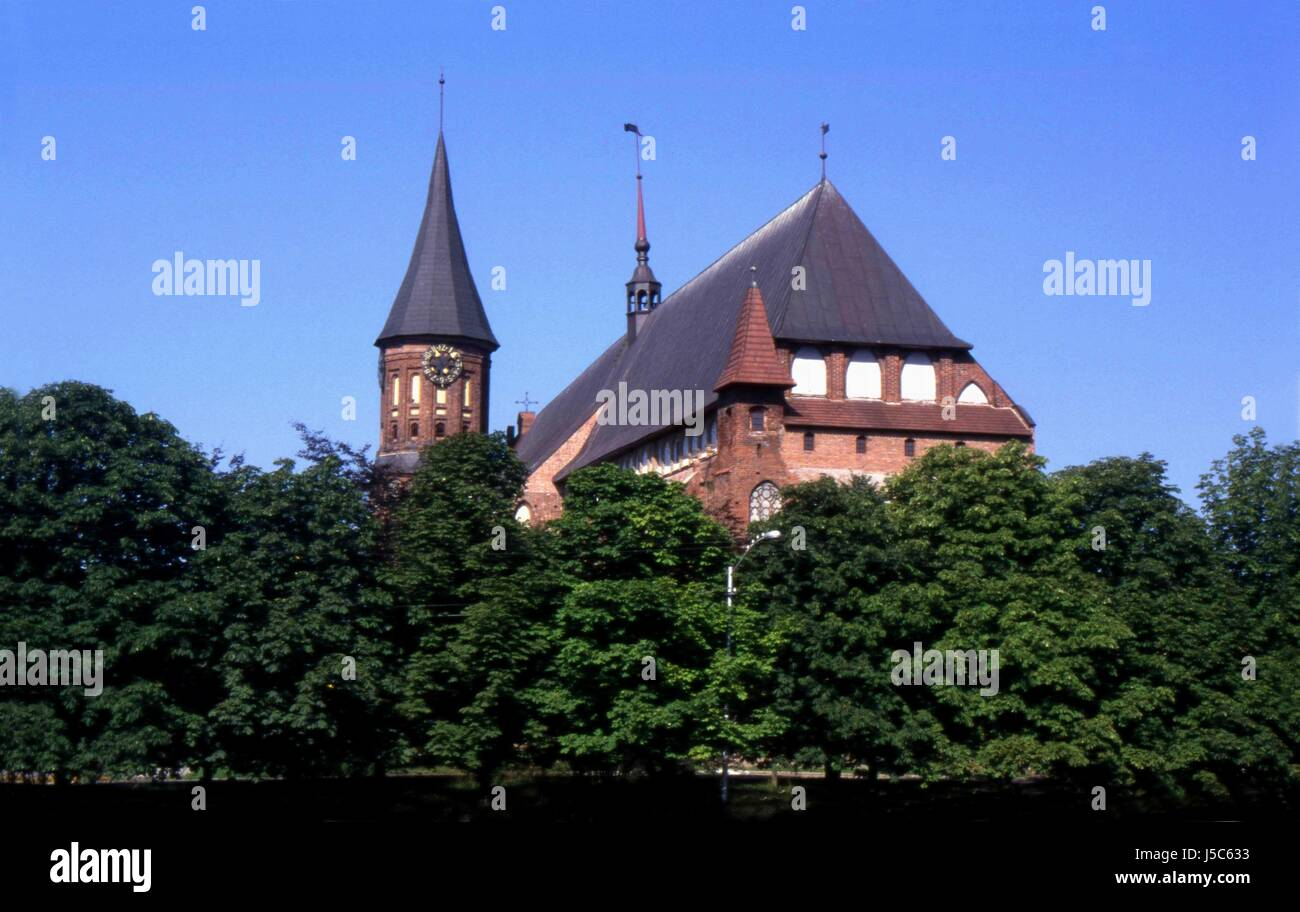 green cathedral summer summerly location shot red kaliningrad knigsberg - Stock Image