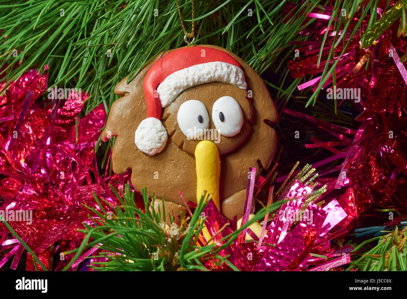 Cute Kiwi bird Christmas tree hanging - Stock Image