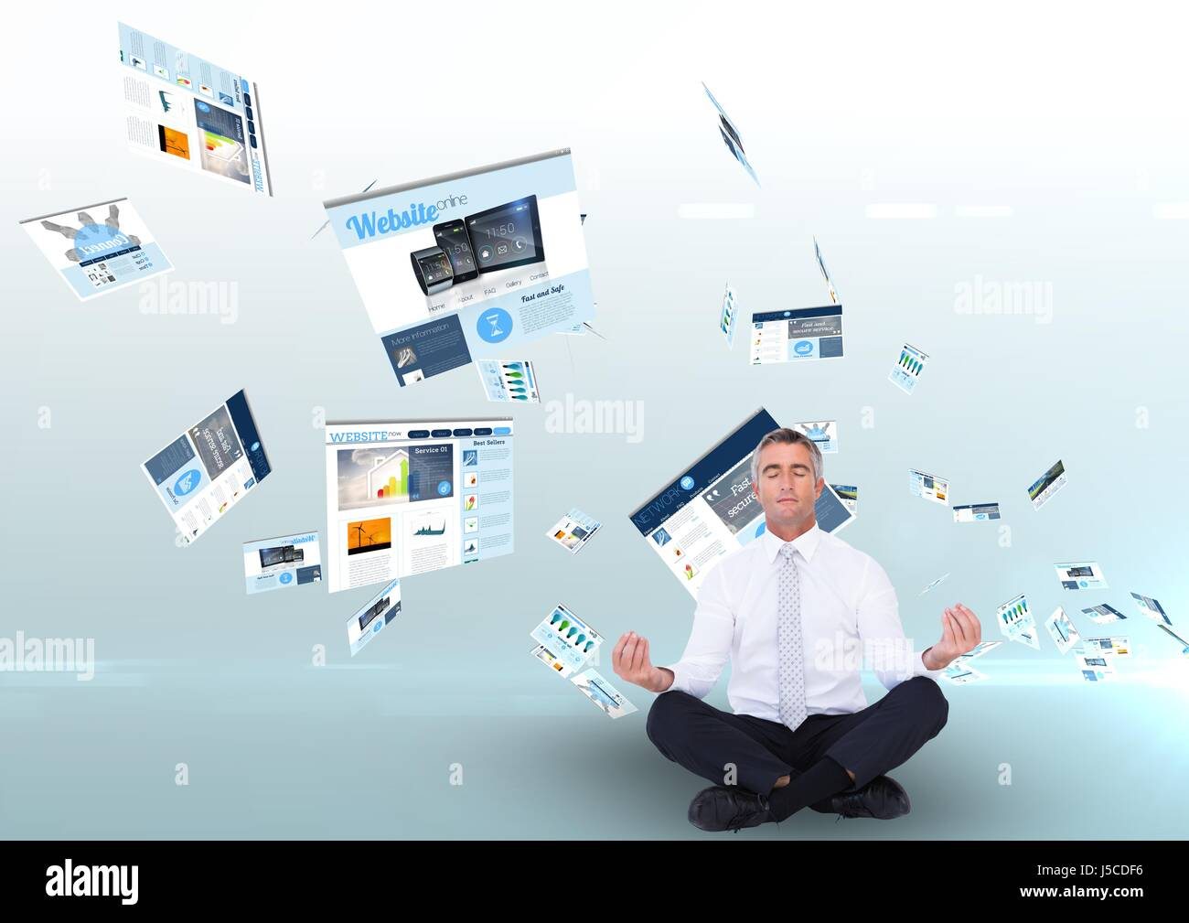 Digital composite of panels with websites flying and business man meditating - Stock Image